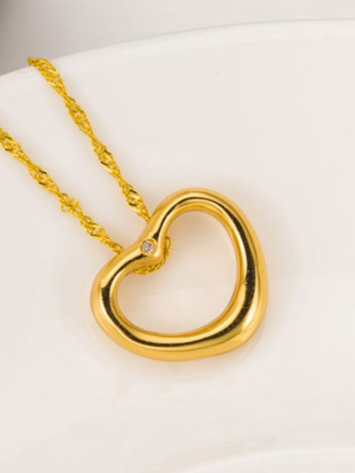 One Silver Gold Plated Heart Zircon Pendant 2