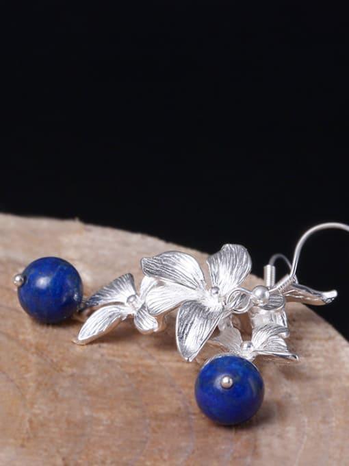 SILVER MI Flower Elegant Women Drop hook earring 2
