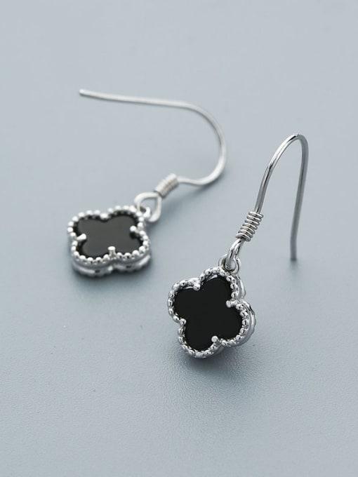 One Silver Women Black Clover Shaped hook earring