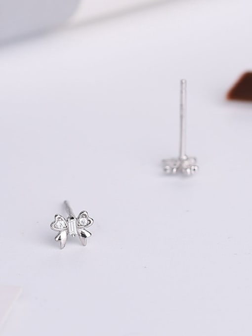 One Silver Beautiful Butterfly Shaped Zircon Earrings 2