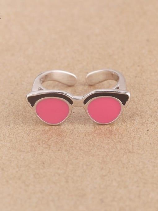 Peng Yuan Creative Glasses Silver Opening Ring 0