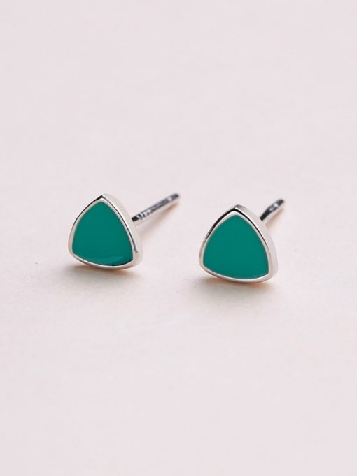 One Silver Women All-match Triangle Shaped stud Earring 1