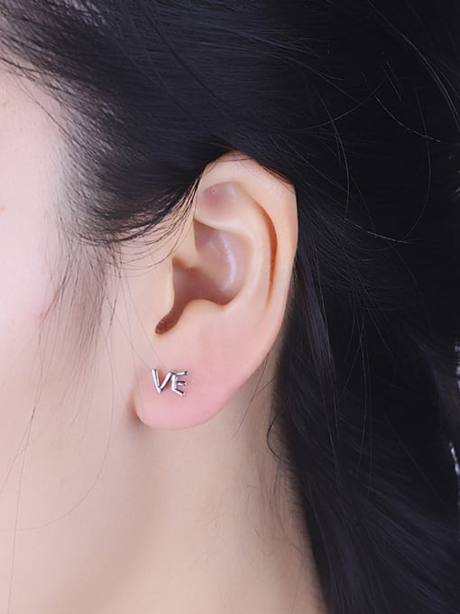 One Silver All-match Letters Shaped Stud cuff earring 2