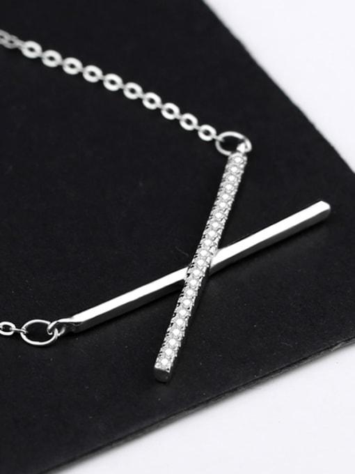 Peng Yuan Simple Cross Zircon Silver Necklace 0