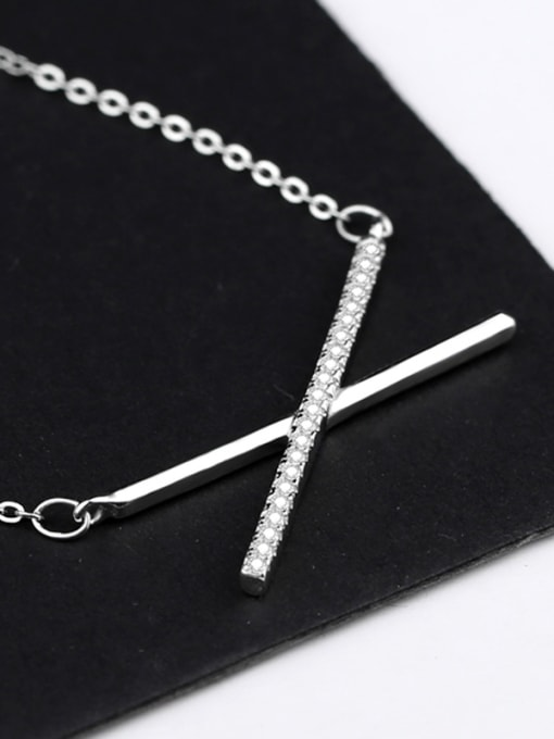 Peng Yuan Simple Cross Zircon Silver Necklace