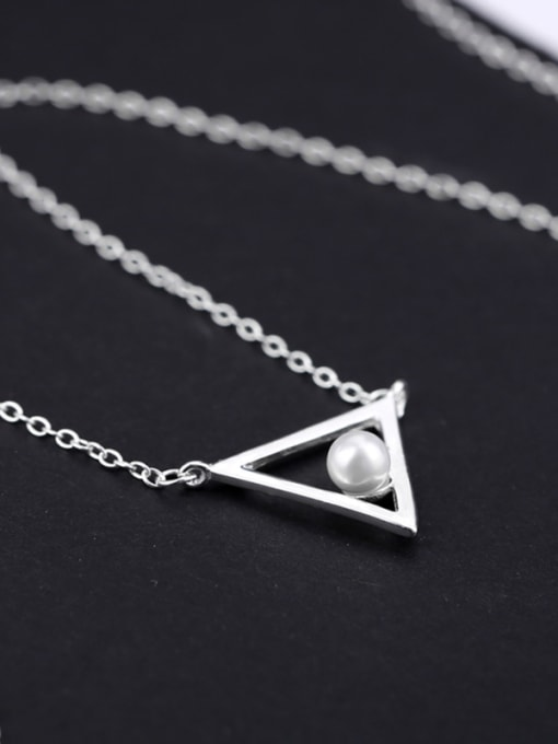 Peng Yuan Freshwater Pearl Triangle Silver Necklace 2