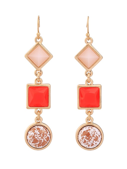 KM Rose Gold Plated Geometric Stones drop earring 0
