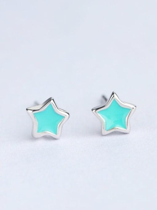 One Silver Women Fresh Star Shaped stud Earring 0