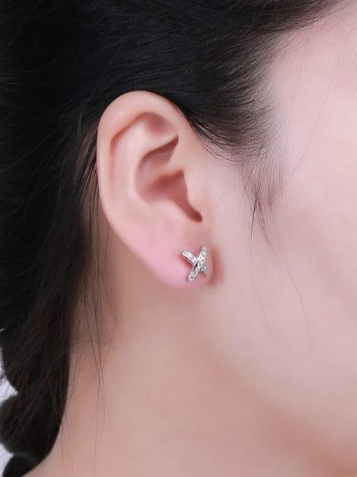 One Silver 925 Silver X Shaped Zircon Earrings 1