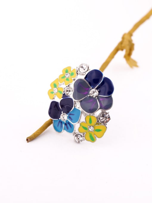 KM Exaggerate Colorful Flower Alloy Statement Ring 1