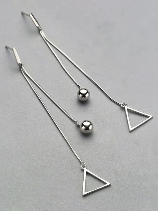 One Silver Trendy Triangle Shaped Stud threader earring 2
