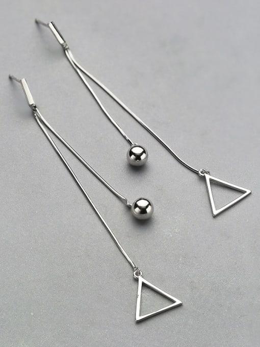 White Trendy Triangle Shaped Stud threader earring