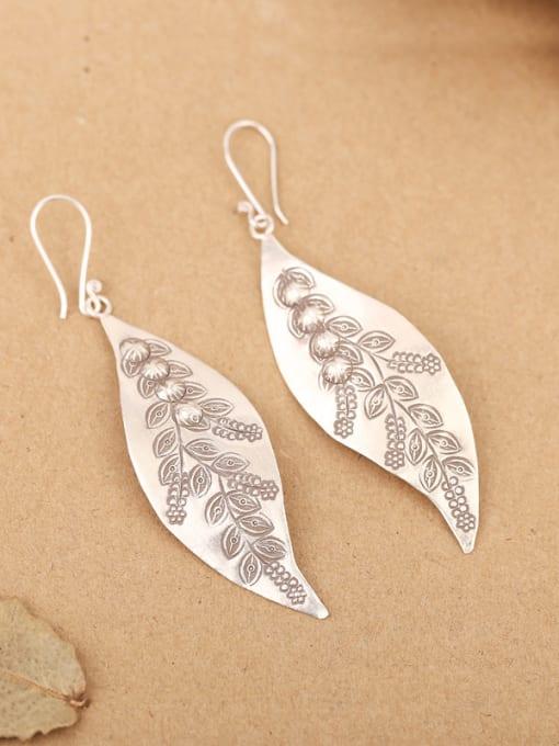 Peng Yuan Ethnic Leaf Handmade Silver hook earring