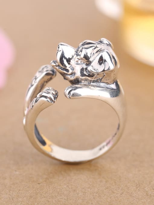 Peng Yuan Personalized Puppy Silver Opening Statement Ring 2