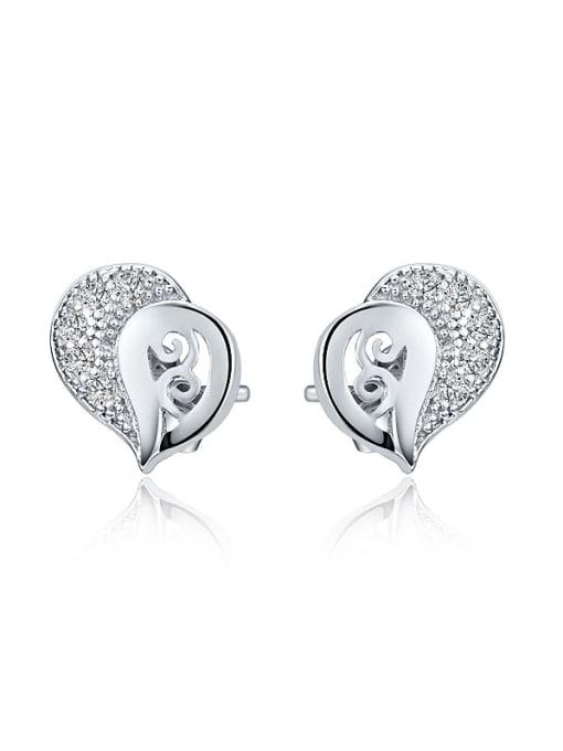 One Silver All-match 925 Silver Geometric Zircon Earrings 0