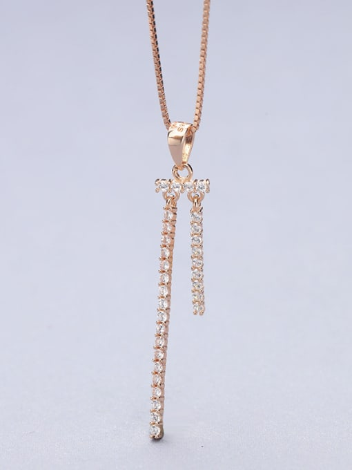 Rose Gold Temperament Double Lines Zircon Pendant