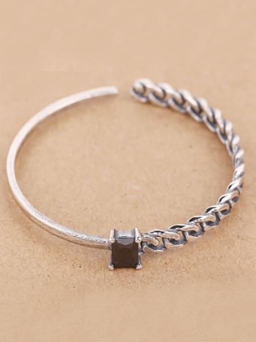 Peng Yuan Black Stone Woven Chain Opening Bangle