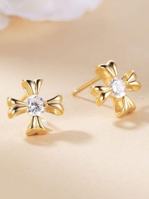 One Silver Gold Plated Flower Zircon Earrings 2