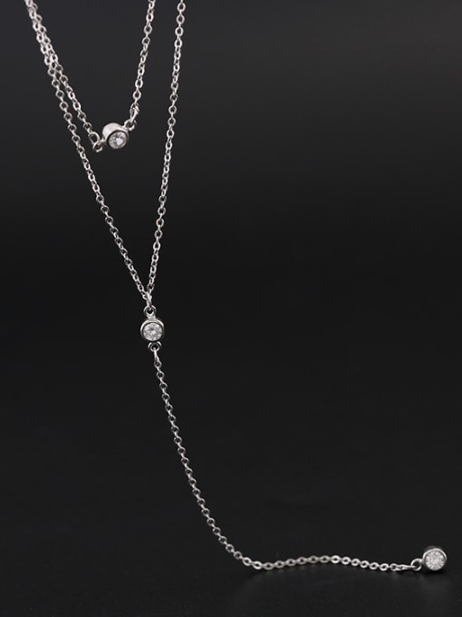Peng Yuan Simple Double Layer Silver Necklace 0