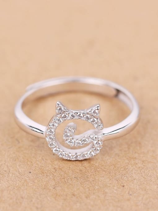 Peng Yuan Lovely Cat Rhinestones Silver Midi Ring 0