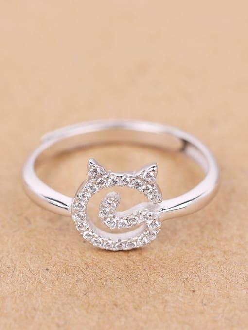 Peng Yuan Lovely Cat Rhinestones Silver Midi Ring