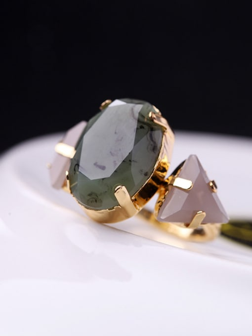 KM Oval Triangle Stones Alloy Ring 1