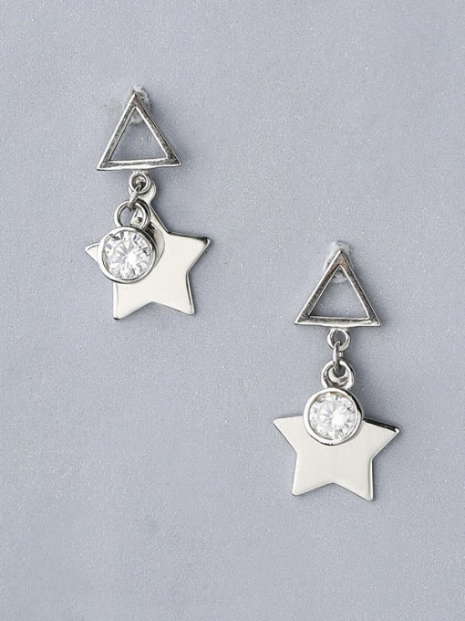 One Silver 925 Silver Triangle Shaped Stud drop earring 0
