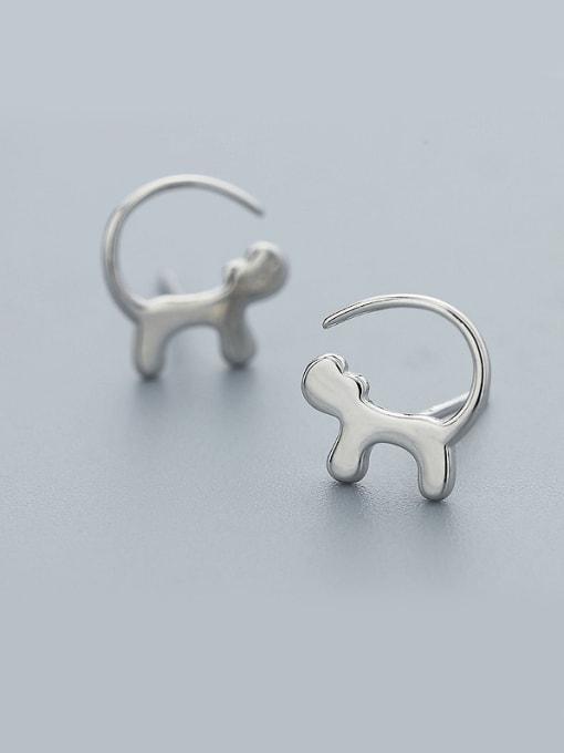 One Silver Cute Trojan Shaped Stud Earrings
