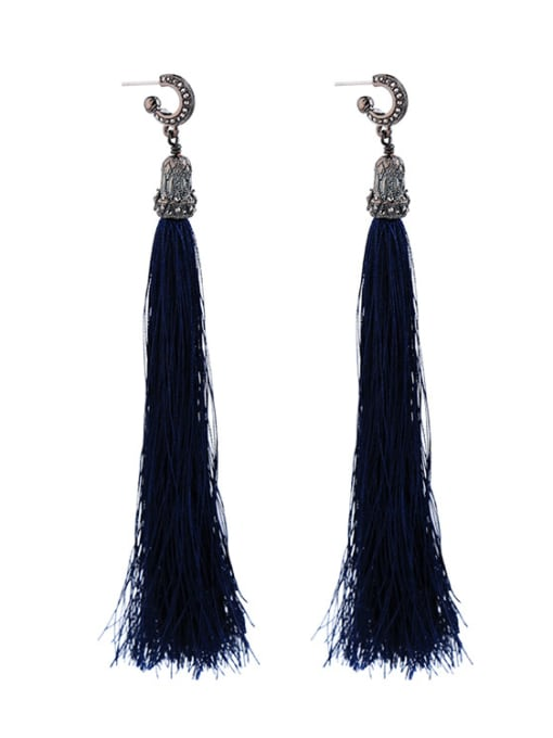 KM Retro Temperament Tassel Drop Chandelier earring 0