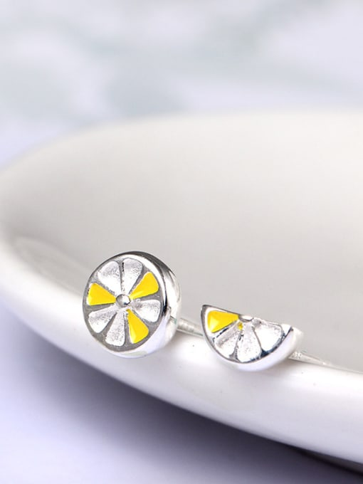 SILVER MI Simple  Asymmetry Fruit Stud Earrings 1