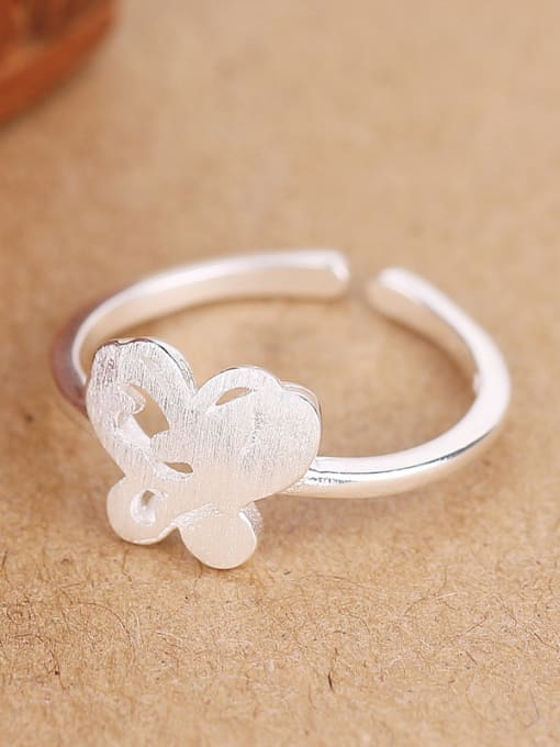 Peng Yuan Simple Butterfly Silver Opening Ring 2