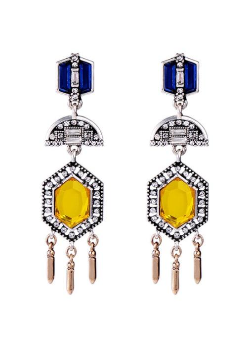 KM Noble Colorful Stones Women Drop Chandelier earring 0