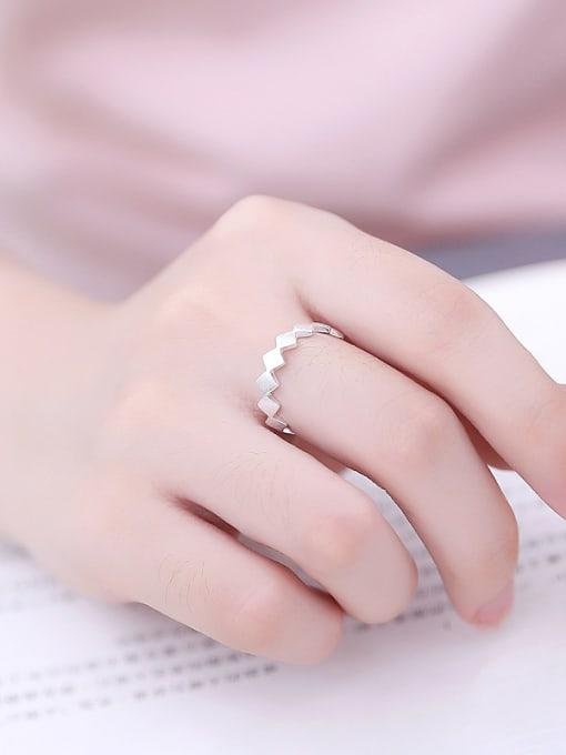 Peng Yuan Simple Geometrical Silver Opening Midi Ring 1