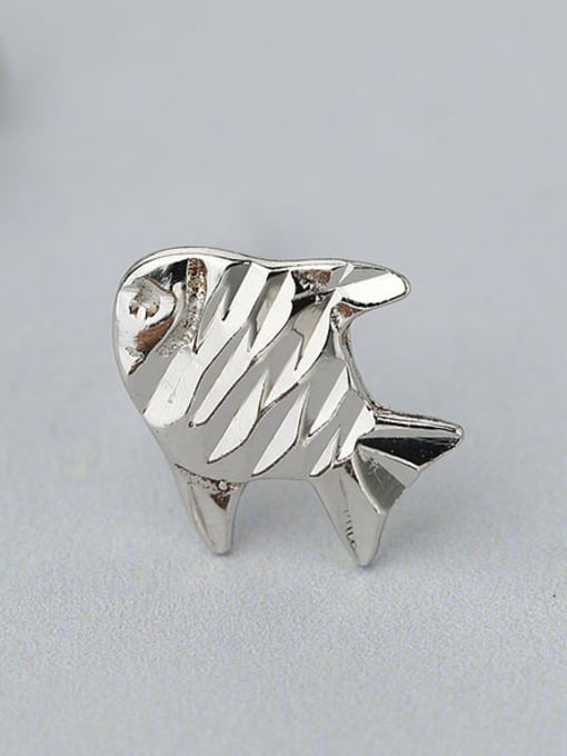 One Silver 925 Silver Fish Shaped stud Earring 3