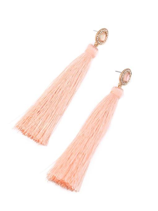 KM Fashion Pink Tassel Drop Chandelier earring 1