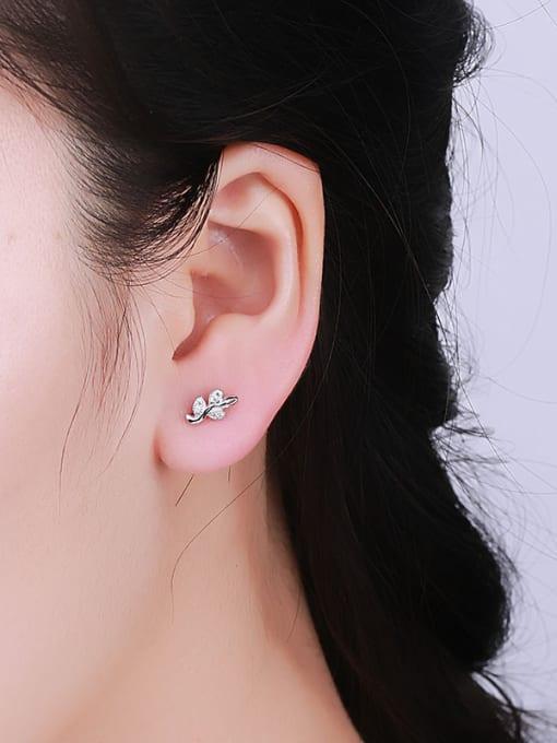 One Silver Fresh Leaf Shaped Zircon cuff earring 1