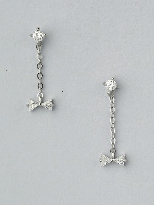 One Silver 925 Silver Bowknot Shaped threader earring