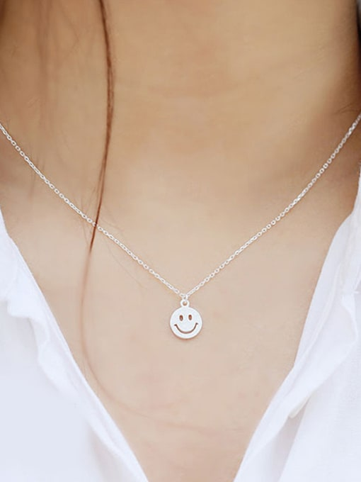 Peng Yuan Tiny Smiling Face Silver Necklace 1
