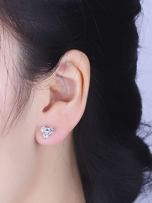 One Silver Charming Triangle Shaped Zircon Earrings 1