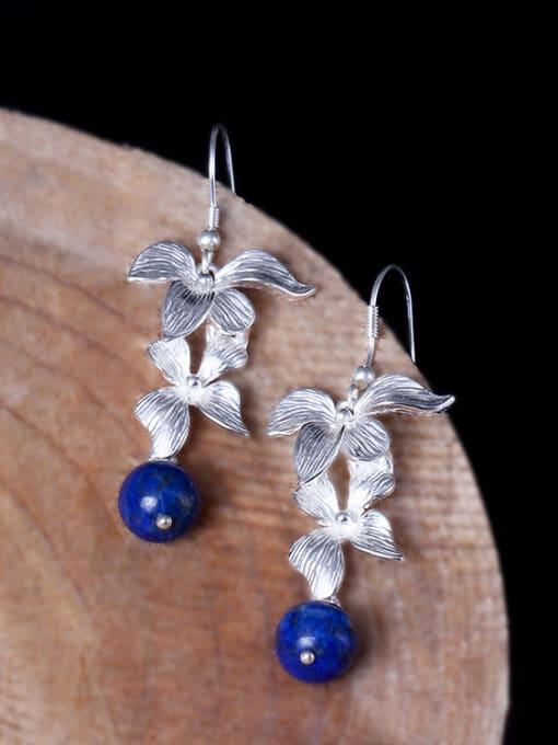 SILVER MI Flower Elegant Women Drop hook earring 0