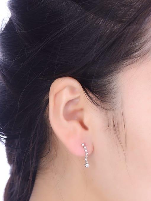 One Silver Trendy Round Shaped Zircon cuff earring 1
