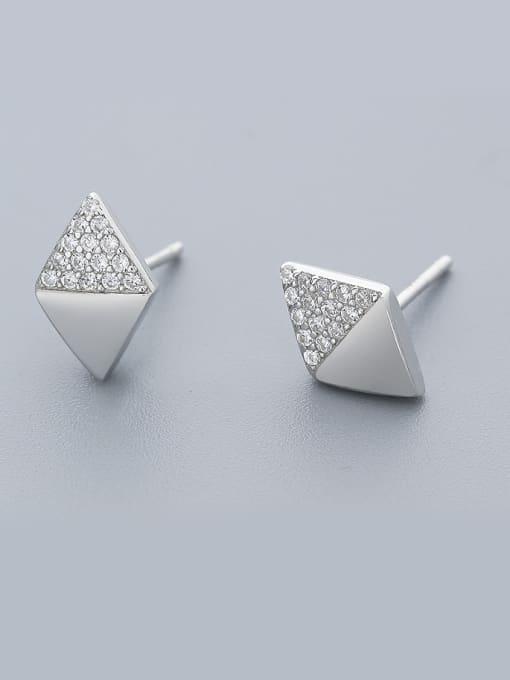 One Silver Women Elegant Geometric Zircon Earrings 0