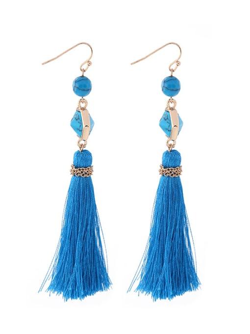 KM Long Blue Tassel Hook hook earring