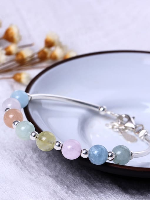SILVER MI Sweet Natural Morgan Stone Bracelet 2