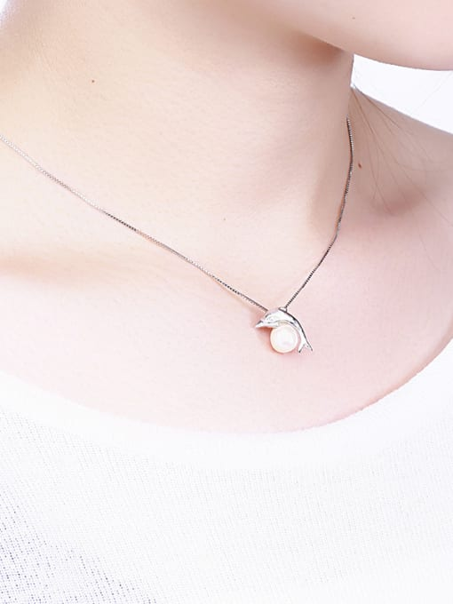 One Silver Dolphin Shaped Freshwater Pearl Pendant 1