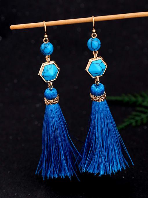 KM Long Blue Tassel Hook hook earring 1