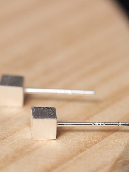 SILVER MI Geometric Square Simple Stud Earrings 1