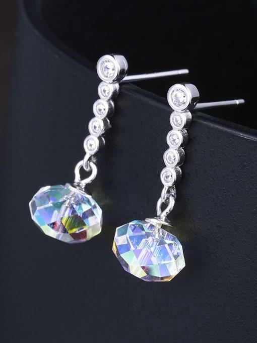 One Silver Women Geometric Shaped Zircon Earrings