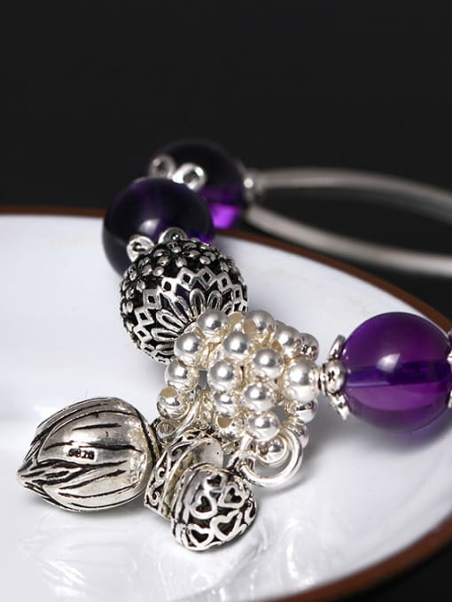 SILVER MI Handmade Amethyst Fashionable Women Bracelet 1