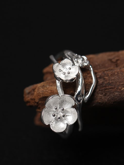 SILVER MI Beautiful Flower Silver Opening Ring 3
